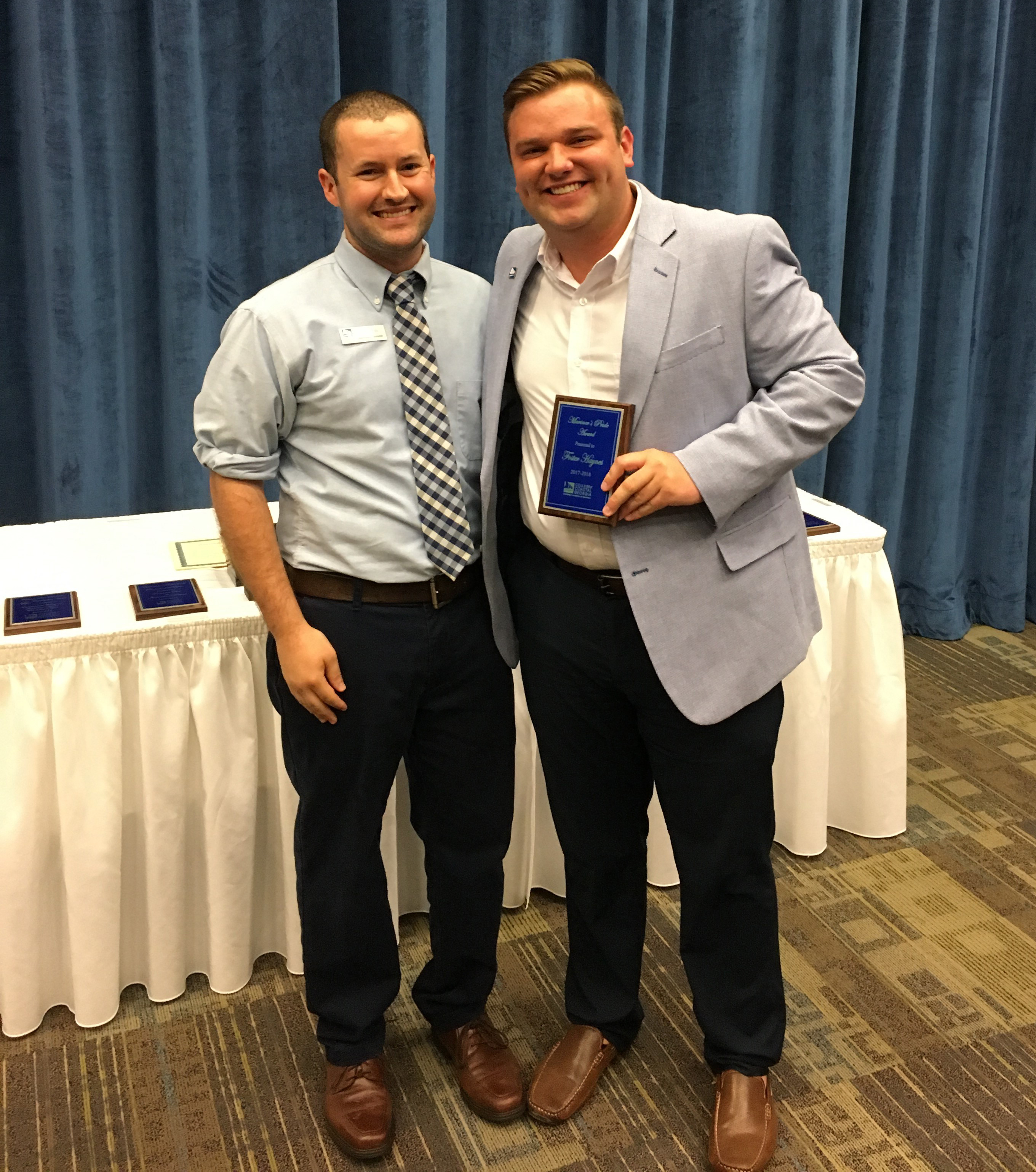 College of Coastal Georgia student Foster Hayes receives the Mariner's Pride Award at the 7th Annual Student Affairs Leadership Awards ceremony. Hayes was also inducted into the Student Hall of Fame.