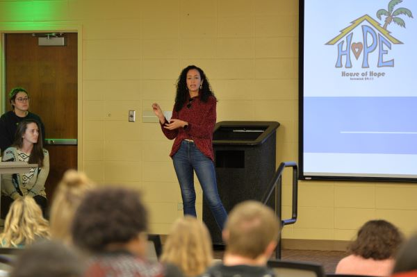 Sarah Casiano of House of Hope in Glynn County talks to students about the plight of sex trafficking in the state of Georgia.