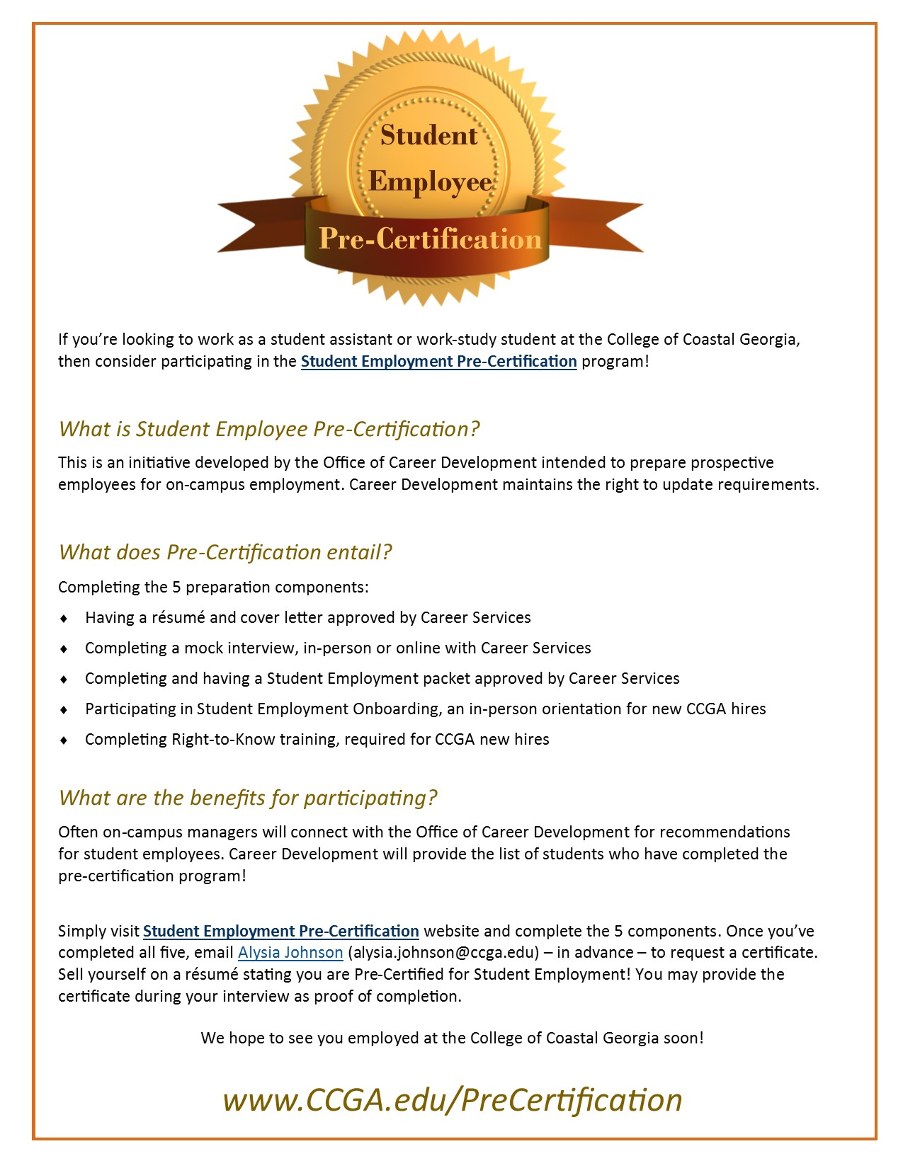 College of coastal georgia student employment pre certification click here to see a one page handout on pre certification 1betcityfo Image collections