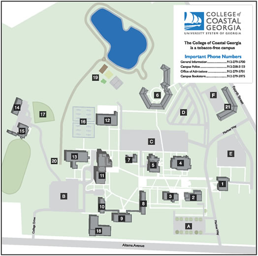 College Of Coastal Georgia Brunswick Campus - Georgia map legend